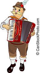 Oktoberfest Germany musician Playing Accordion