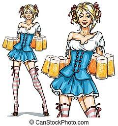 oktoberfest, alfiler, bávaro, arriba, niña, bastante