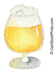 Oktoberfest amber beer in a glass on a short leg with a cap of foam. Hand drawn watercolor painting on white background clip art graphic elements for creative design and printable decor.