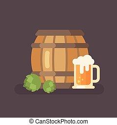 oktoberfest, appartamento, festival, illustrazione, birra, luppolo, mug., barile