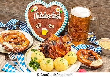 Oktoberfest - Appetizing Bavarian roast pork knuckle with ...