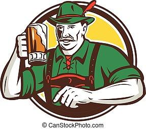 oktoberfest, bávaro, cerveza, retro, bebedor, círculo
