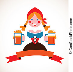 Oktoberfest background - girl with beer