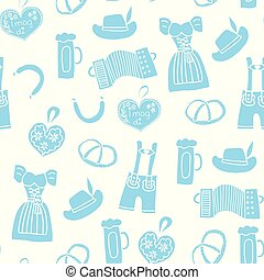 Oktoberfest background hand drawn cartoon doodle seamless vector pattern. Oktoberfest repeating tile. Traditional German icons. Bavarian beer, Lederhosen, Dirndl, gingerbread heart, sausage, pretzels