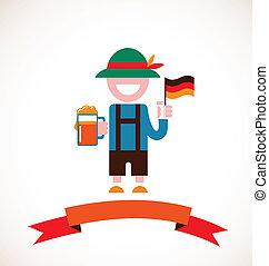 Oktoberfest background - man with beer