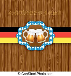 Oktoberfest background. Two mugs of beer on a wooden background.