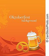 Oktoberfest background with beer and pretzel