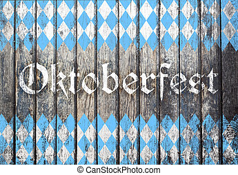 Oktoberfest background with blue and white rhombus pattern -...