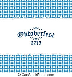 Oktoberfest background with blue-white checkered pattern -...