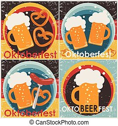 Oktoberfest backgrounds, set.