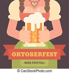 oktoberfest, banner., festival, manifesto, dirndl, su, appartamento, birra, illustrazione, tenere, mug., ragazza, vestire