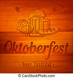 Oktoberfest banner on wooden