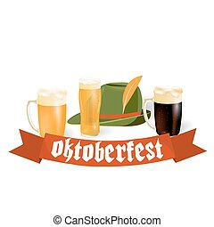 Oktoberfest banners in Bavarian color. Light and dark beer, hat. Feast of Bavaria with a red ribbon Oktoberfest. illustration