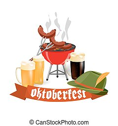 Oktoberfest banners in Bavarian color. Light and dark beer, sausages, brazier, hat. Feast of Bavaria with a red ribbon Oktoberfest. illustration
