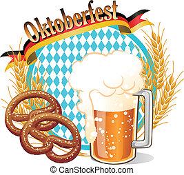 oktoberfest, bannière, bière, oreilles, bretzel, rond, blé, célébration