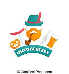 oktoberfest, barbuto, fish, poster., cibo, salsiccia, -, tradizionale, birra, verde, pipe., austriaco, pretzel, cappello, uomo