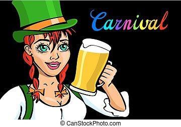 oktoberfest, bavarian, 啤酒, 被隔离, 漂亮的女孩