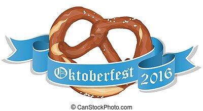 oktoberfest, bavarian, bandeira, pretzel