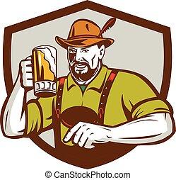 Oktoberfest Bavarian Beer Drinker Shield Retro -...