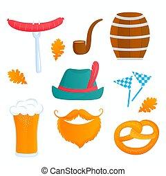Oktoberfest Bavarian Festival. Glass of beer, barrel, pretzel, sausage, smoking pipe, hat