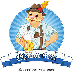 Oktoberfest Bavarian Label with stripe for text