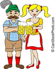 oktoberfest, bavarois, couple, bière