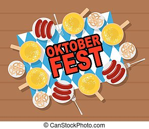 Oktoberfest: beer and sausages. Pretzels and grilled sausages on wood table. Vector illustration for traditional annual Festival of beer in Germany.