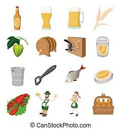 Oktoberfest beer cartoon icons set