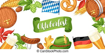 Oktoberfest beer festival. Banner or poster for feast