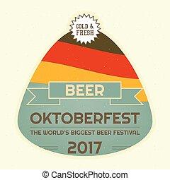 Oktoberfest Beer Festival Emblem. Retro Poster. Vector...