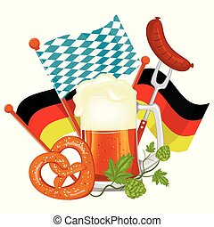 Oktoberfest beer festival. Illustration or poster for feast.