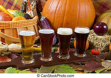 beer flight - oktoberfest beer flight of four samples with...