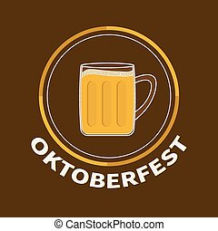 Oktoberfest Beer glass mug with foam cap froth bubble. Big round icon Flat design