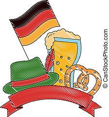 oktoberfest beer pretzel hat and flag germany emblem