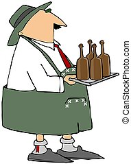 Oktoberfest Beer Server - This illustration depicts a man...