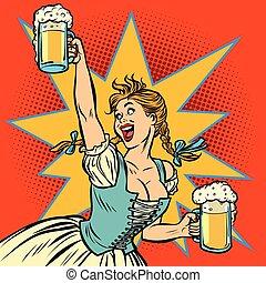 Oktoberfest beer. Woman waitress in traditional German costume