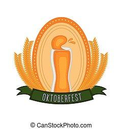 oktoberfest, bière, blé, verre, étiquette