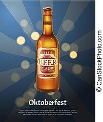 oktoberfest, bier, plakat, flasche, realistisch