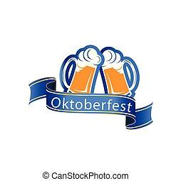 Oktoberfest Blue Ribbon Two Glasses Of Beer Vector Image