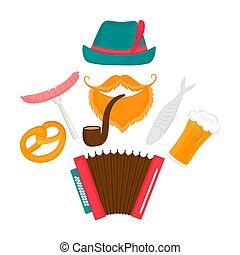 oktoberfest, brodaty, fish, poster., tradycyjny, jadło, kiełbasa, -, accordion., rura, piwo, zielony, palenie, austriak, precel, kapelusz, człowiek
