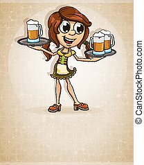 Oktoberfest brown-haired girl in traditional costume with a...