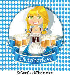 Oktoberfest bunner with girl - Pretty Blond with a glass of...