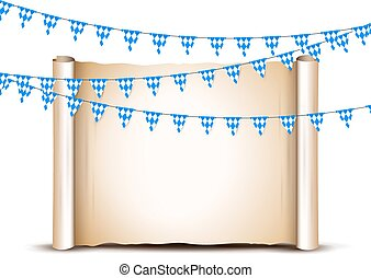 Oktoberfest card design template. Bright buntings garlands decorated in traditional colors of Bavaria.