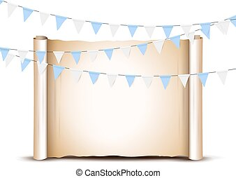 Oktoberfest card design template. Bright buntings garlands