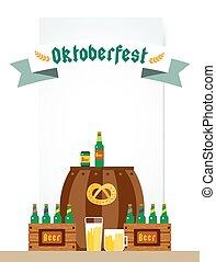oktoberfest, celebração, fundo, cartaz