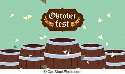 oktoberfest celebration animation with banner and barrels ,4k video animated