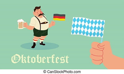 oktoberfest celebration animation with drunk,man and hand waving flag germany
