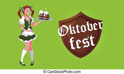 oktoberfest celebration animation with sexi woman and shield...