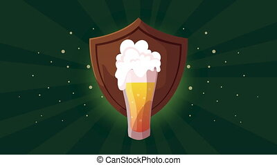 oktoberfest celebration animation with shield and beer ,4k ...
