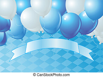 Vector Oktoberfest Balloons Celebration Background with Copy space.